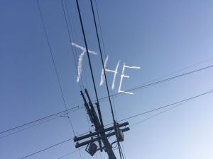 We saw someone writing in the sky.